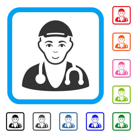 Gladness Physician Doctor vector pictogram. Human face has cheerful expression. Black, grey, green, blue, red, orange color versions of physician doctor symbol in a rounded square.
