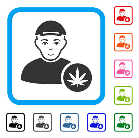 Glad Marihuana Dealer vector pictograph. Human face has smiling emotion. Black, gray, green, blue, red, pink color versions of Marihuana dealer symbol in a rounded frame. A man dressed with a cap. Ilustração