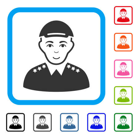 Glad Army Officer vector pictograph. Person face has positive mood. Black, gray, green, blue, red, orange color additional versions of army officer symbol in a rounded frame. Vettoriali