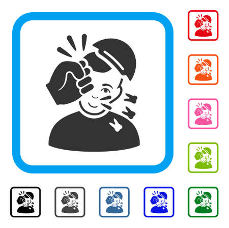 Positive Kickboxer vector pictograph. Human face has happiness emotions. Black, grey, green, blue, red, orange color versions of kickboxer symbol in a rounded frame. A guy wearing a cap.