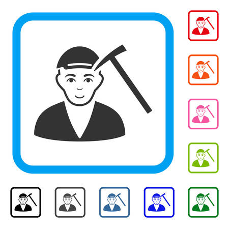 Glad Hammer Victim vector pictograph. Person face has enjoy mood. Black, grey, green, blue, red, pink color variants of hammer victim symbol inside a rounded squared frame. A boy dressed with a cap. Illustration