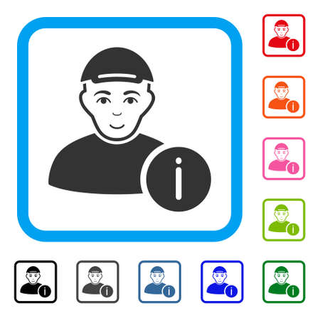 Happiness User Info vector pictograph. Human face has enjoy sentiment. Black, grey, green, blue, red, pink color versions of user info symbol in a rounded squared frame. A dude dressed with a cap.