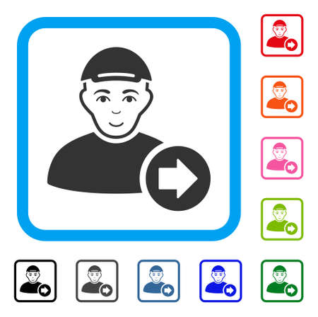 Positive Next Man vector pictogram. Human face has happy emotions. Black, gray, green, blue, red, pink color versions of next man symbol inside a rounded frame. A person wearing a cap. Illustration