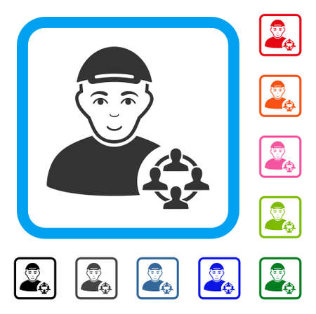 Enjoy Social Networker vector icon. Person face has joy sentiment. Black, grey, green, blue, red, orange color additional versions of social networker symbol inside a rounded rectangular frame.