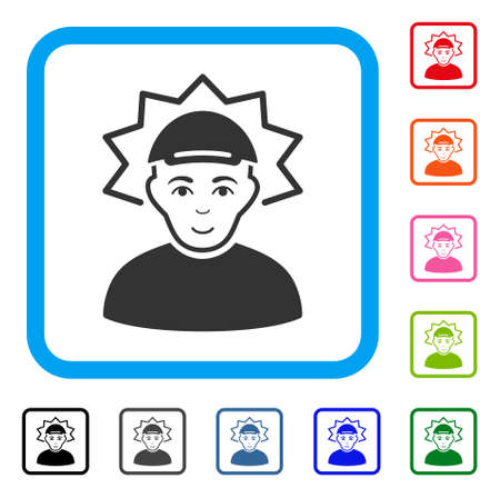 Enjoy Inventor vector icon. Human face has enjoy mood. Black, grey, green, blue, red, orange color versions of inventor symbol in a rounded frame. A person dressed with a cap.