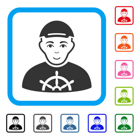 Smiling Captain vector icon. Person face has happiness emotion. Black, grey, green, blue, red, pink color versions of captain symbol inside a rounded rectangular frame. A boy in a cap.
