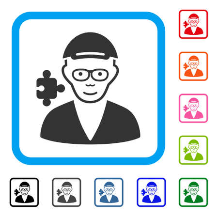 Enjoy Specialist vector pictogram. Human face has joy mood. Black, gray, green, blue, red, pink color versions of specialist symbol in a rounded rectangle. A dude wearing a cap.
