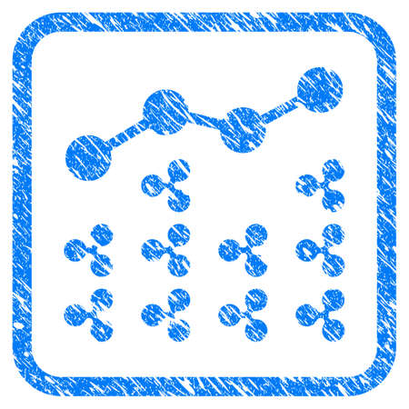 Ripple Analytics rubber seal stamp watermark. Icon vector symbol with grunge design and dust texture in rounded square frame. Scratched blue emblem on a white background. Ilustração