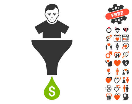 Sales Funnel Customer icon with bonus marriage graphic icons. Vector illustration style is flat iconic symbols.