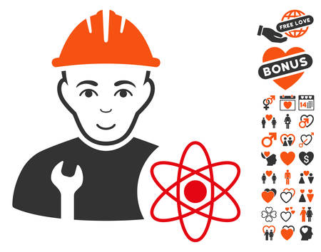 Scientist Engineer pictograph with bonus decorative graphic icons. Vector illustration style is flat iconic symbols.