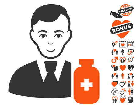 Medical Pharmacist pictograph with bonus valentine pictures. Vector illustration style is flat iconic symbols. Illustration