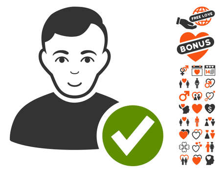 Valid User pictograph with bonus passion pictograms. Vector illustration style is flat iconic symbols.
