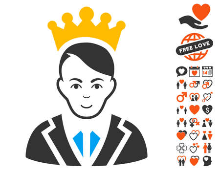 Prince icon with bonus decorative clip art. Vector illustration style is flat iconic symbols.