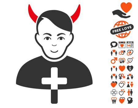Satan Priest pictograph with bonus dating pictograms. Vector illustration style is flat iconic symbols.