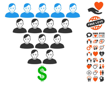 Ponzi Pyramid Scheme icon with bonus dating pictograph collection. Vector illustration style is flat iconic symbols.