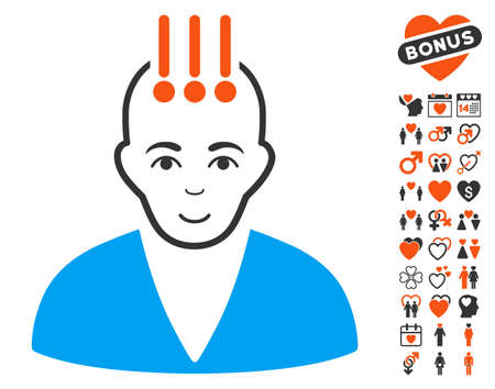 Neural Interface icon with bonus passion graphic icons. Vector illustration style is flat iconic symbols.