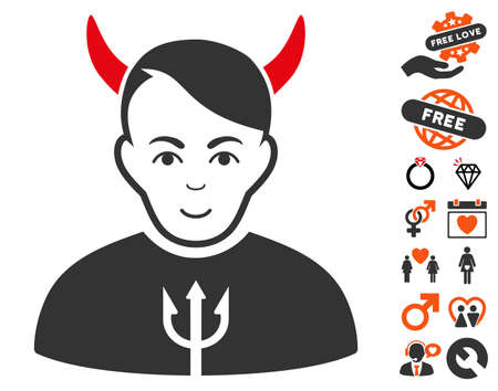 Satan pictograph with bonus dating images. Vector illustration style is flat iconic symbols.
