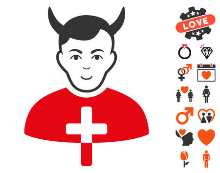 Satan Priest pictograph with bonus marriage pictograms. Vector illustration style is flat iconic symbols. Illustration