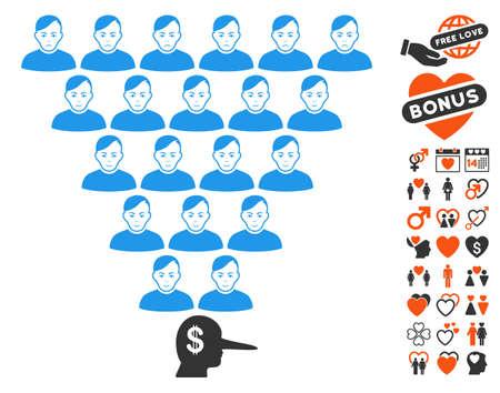 Ponzi Pyramid Manager pictograph with bonus passion design elements. Vector illustration style is flat iconic symbols. Illustration