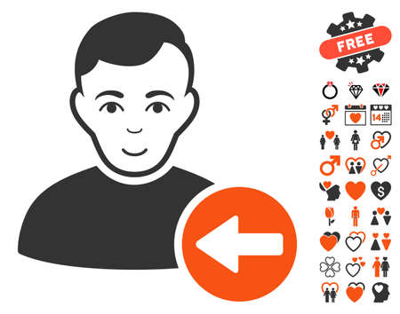 Previous User pictograph with bonus decorative pictograms. Vector illustration style is flat iconic symbols.