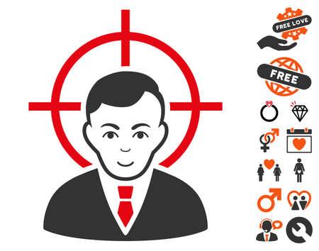 Victim Businessman pictograph with bonus decorative pictures. Vector illustration style is flat iconic symbols.