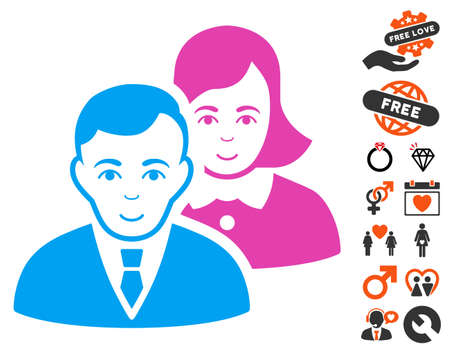 People Pair pictograph with bonus amour icon set. Vector illustration style is flat iconic symbols. Ilustração