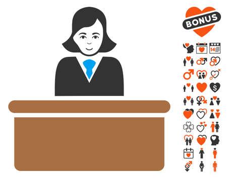Officiële dame pictogram met bonus romantische symbolen. Vector illustratie stijl is plat iconische symbolen.