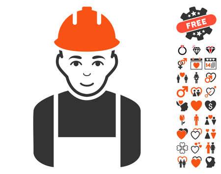 Worker icon with bonus valentine icon set. Vector illustration style is flat iconic symbols.