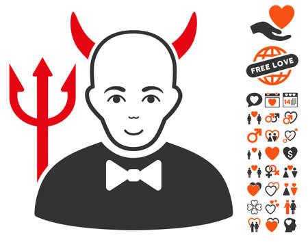 Satan icon with bonus love pictograms. Vector illustration style is flat iconic symbols.