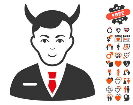 Satan pictograph with bonus love pictograms. Vector illustration style is flat iconic symbols. Vettoriali