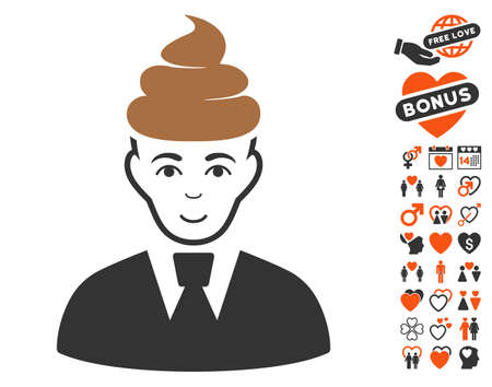 Poop Guy icon with bonus love pictograph collection. Vector illustration style is flat iconic symbols.