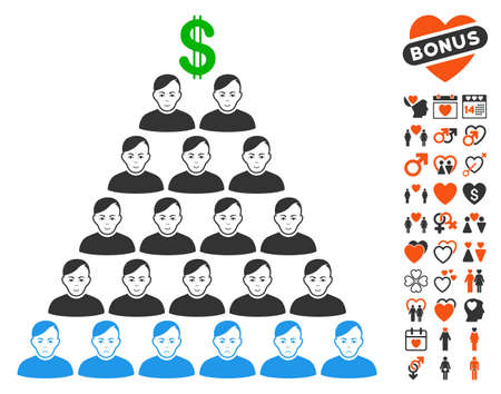 Ponzi Pyramid Scheme pictograph with bonus love graphic icons. Vector illustration style is flat iconic symbols.