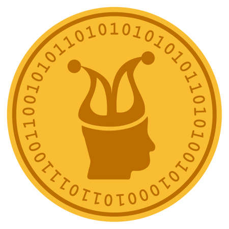 Joker golden digital coin icon. Vector style is a gold yellow flat coin cryptocurrency symbol.