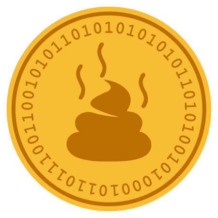 Shit Smell golden digital coin icon. Vector style is a gold yellow flat coin cryptocurrency symbol.