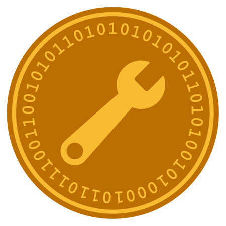Wrench golden digital coin icon. Vector style is a gold yellow flat coin cryptocurrency symbol.
