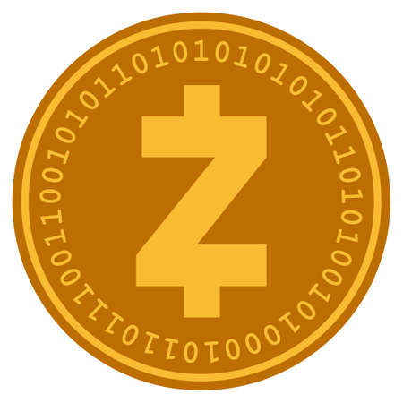 Zcash golden digital coin icon. Vector style is a gold yellow flat coin cryptocurrency symbol.