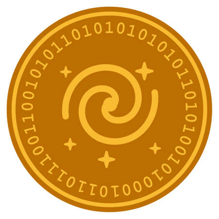 Galaxy Stars golden digital coin icon. Vector style is a gold yellow flat coin cryptocurrency symbol. Çizim