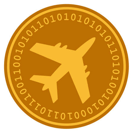 Aircraft golden digital coin icon. Vector style is a gold yellow flat coin cryptocurrency symbol.