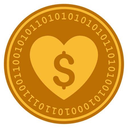 Betaalde liefde gouden digitale munt pictogram. Vectorstijl is een goudgeel plat cryptocurrency-symbool.