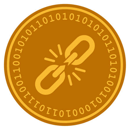 Break Chain Link golden digital coin icon. Vector style is a gold yellow flat coin cryptocurrency symbol.