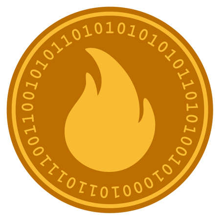 Fire golden digital coin icon. Vector style is a gold yellow flat coin cryptocurrency symbol. Illustration