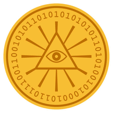 Total Control golden digital coin icon. Vector style is a gold yellow flat coin cryptocurrency symbol.