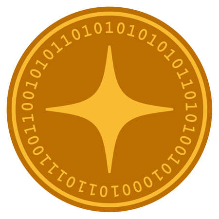 Space Star golden digital coin icon. Vector style is a gold yellow flat coin cryptocurrency symbol. Illustration