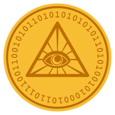 Total Control golden digital coin icon. Vector style is a gold yellow flat coin cryptocurrency symbol. Banco de Imagens - 94893524