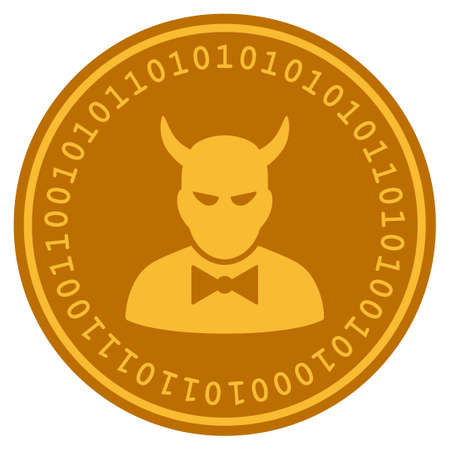 Devil golden digital coin icon. Vector style is a gold yellow flat coin cryptocurrency symbol. Ilustração