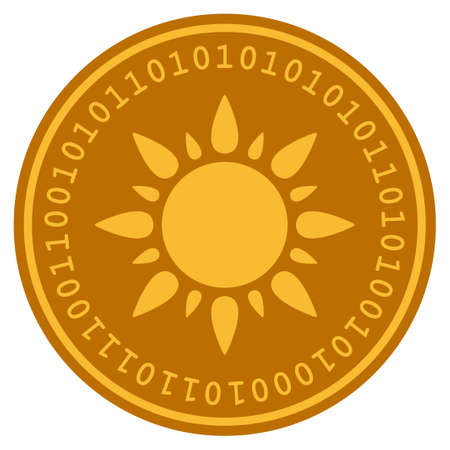 Sun golden digital coin icon. Vector style is a gold yellow flat coin cryptocurrency symbol. 일러스트