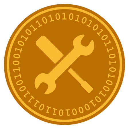 Tools golden digital coin icon. Vector style is a gold yellow flat coin cryptocurrency symbol. Illustration