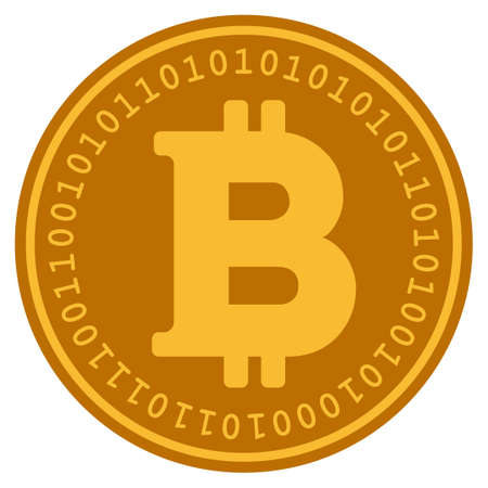 Bitcoin golden digital coin icon. Vector style is a gold yellow flat coin cryptocurrency symbol.