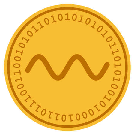 Wave Sinusoid golden digital coin icon. Vector style is a gold yellow flat coin cryptocurrency symbol.