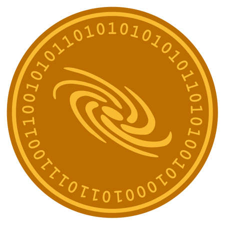 Galaxy golden digital coin icon. Vector style is a gold yellow flat coin cryptocurrency symbol. Ilustração